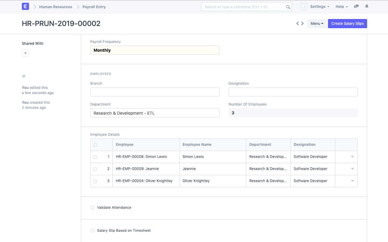Open Source HRMS - Payroll Entry