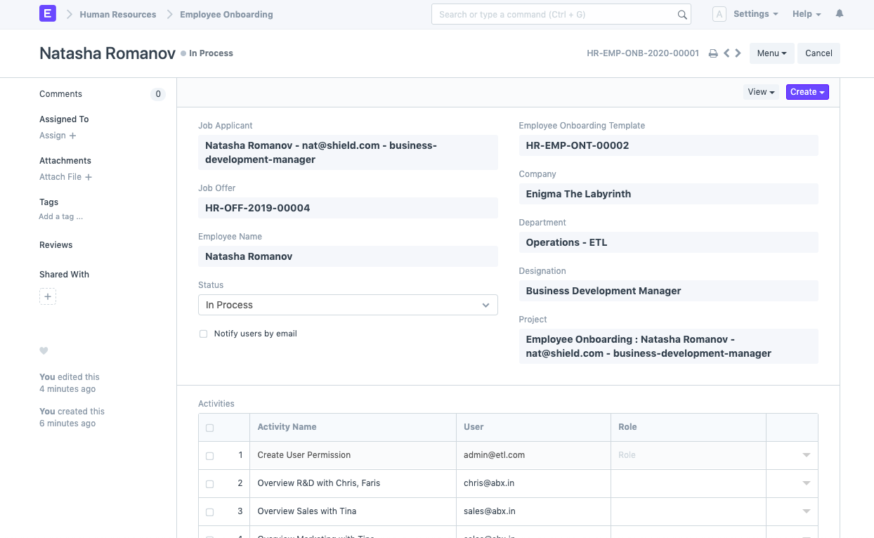 Open Source Employee Management Software - Employee Onboarding