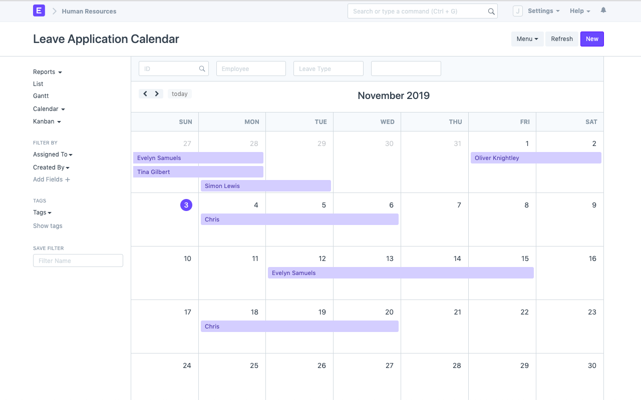 Open Source Employee Management Software - Leave Calendar