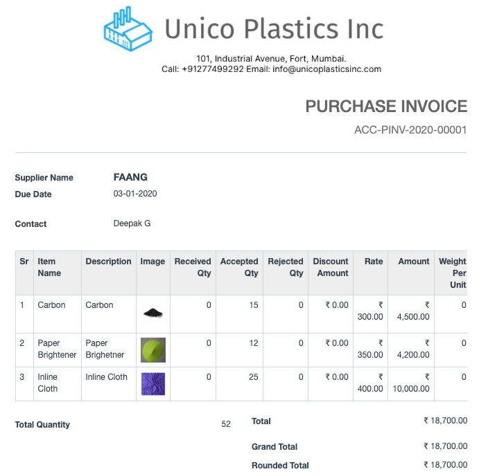 Open Source Procurement Software - Purchase Receipt and Invoice