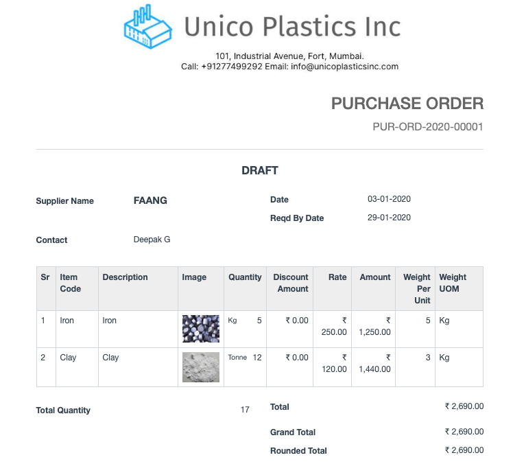 Open Source Procurement Software - Purchase Order