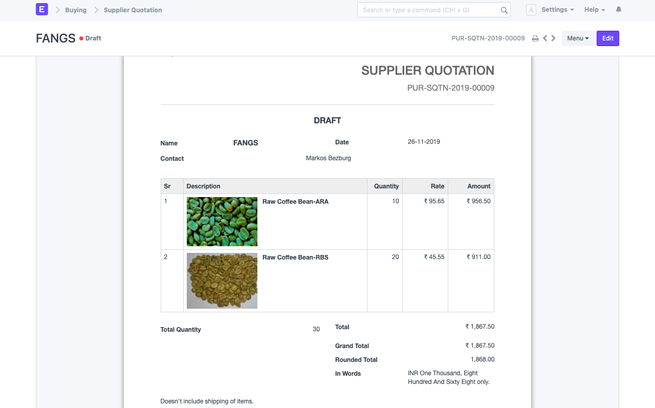 Open Source Supply Chain - Supplier Quotation